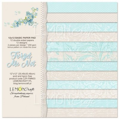 "Lemoncraft 12""x12"" Basic Paper Collection - Forget Me Not (12 papers)"