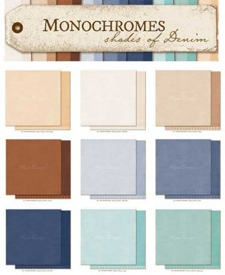 Maja Design Shades of Denim Monochromes 12x12 Hel kollektion (9 st papper)