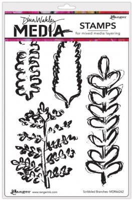 Dina Wakley Media Cling Stamps - Scribbled Branches