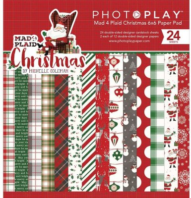 "PhotoPlay 6""x6"" Double-Sided Paper Pad - Mad 4 Plaid Christmas (24 pack)"