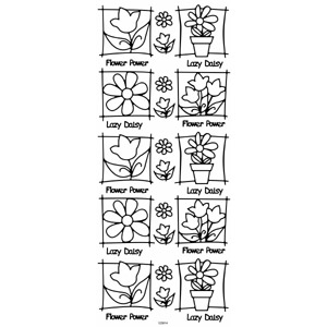 Anitas Peel Off Outline Stickers Flowers In Frame Silver