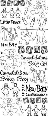 Anitas Peel Off Outline Stickers Baby Congratulations Silver