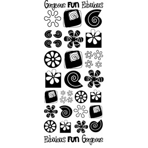 Anitas Peel Off Outline Stickers Fab Retro Shapes Silver