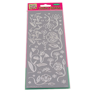 OLS STICKER ART DECO FLOWERS - SILVER