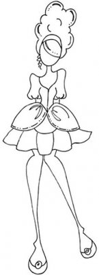 Prima Mixed Media Doll Cling Rubber Stamp - Mindy