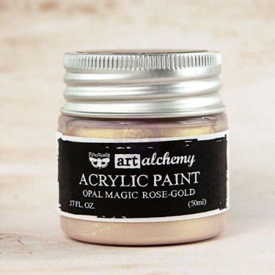 Prima Finnabair Art Alchemy Acrylic Paint - Opal Magic Rose/Gold (50 ml)