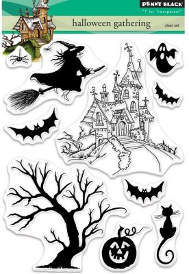 Penny Black Clear Stamp Set - Halloween Gathering