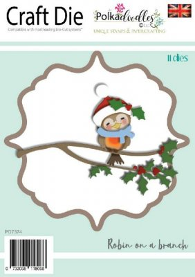 Polkadoodles Dies - Robin on a Branch