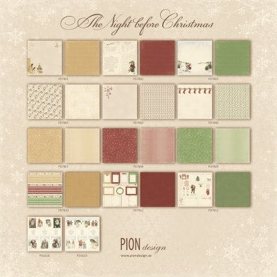 Pion Design 12x12 Paper Collection - The Night before Christmas (all 14 sheets)