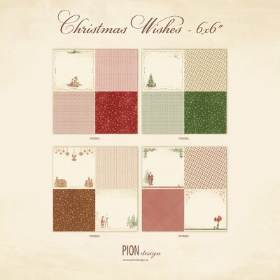 Pion Design 6x6 Paper Collection - Christmas Wishes (all 4 of the 12x12 sheets)