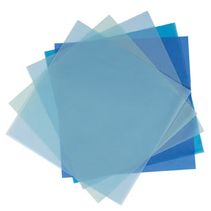 ASSORTED 8X8 VELLUM PACK 10 SHEETS & 5 COLS BLUES