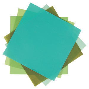 ASSORTED 8X8 VELLUM PACK 10 SHEETS & 5 COLS GREENS