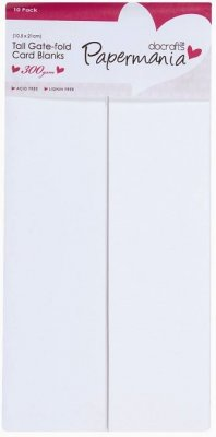 Docrafts Tall Cards/Envelopes Gate-Fold - White (10 pack, 300gsm)