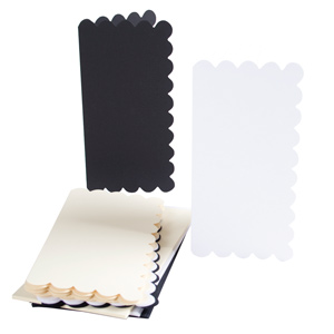TALL CARD/ENVELOPE 12PK SCALLOPED MONOCHROMATIC