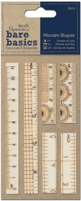 Docrafts Bare Basics - Wooden Ruler Shapes (6 pack)