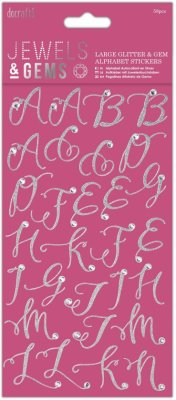 Docrafts Jewels & Gems Alphabet Stickers - Large Glitter & Gem (58 stickers)