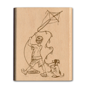 NOSTALGIA MOUNTED RUBBER STAMP - KITE FLYING