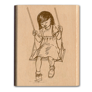NOSTALGIA MOUNTED RUBBER STAMP - SWINGING