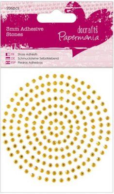 Docrafts 3mm Adhesive Stones - Gold (206 pieces)