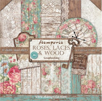 "Stamperia 12""x12"" Double-Sided Paper Pad - Roses, Lace & Wood (10 pack)"