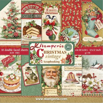 "Stamperia 12""x12"" Double-Sided Paper Pad - Christmas Vintage (10 pack)"
