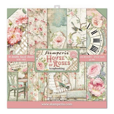 "Stamperia 12""x12"" Double-Sided Paper Pad - House of Roses (10 sheets)"