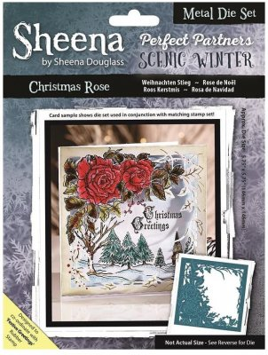 Sheena Douglass Perfect Partner Scenic Winter Dies - Christmas Rose