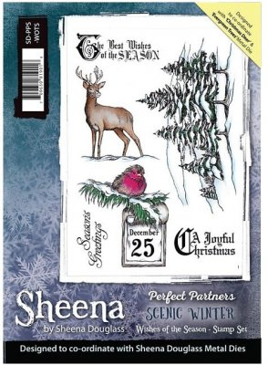 Sheena Douglass Perfect Partner Scenic Winter A5 Unmounted Rubber Stamp - Wishes of the Season