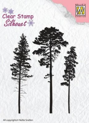 Nellies Choice Silhouette Clear Stamps - 3 Pinetrees