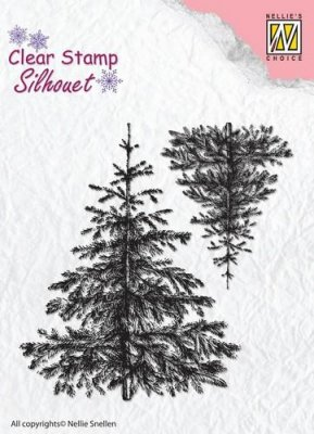 Nellies Choice Silhouette Clear Stamps - 2 Christmas Fir-Trees