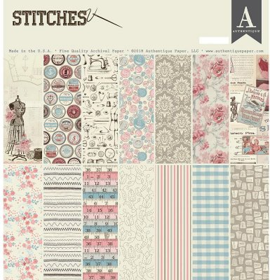 "Authentique 12""x12"" Cardstock Pad - Stitches (27 sheets)"