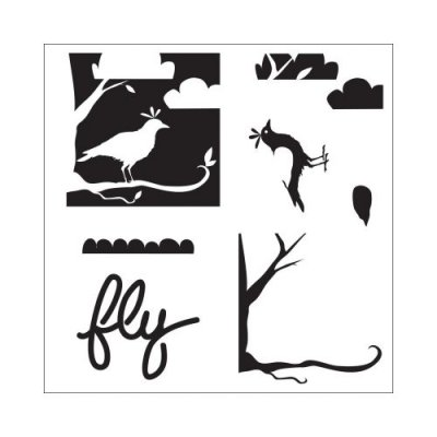 "Crafters Workship 6""x6"" Template - Layered Bird Scene"