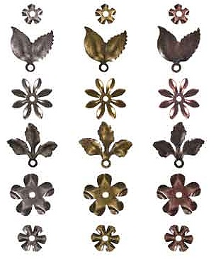 Tim Holtz Idea-ology - Metal Foliage ((12 flowers, 6 leaves, 18 fasteners))