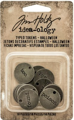 Tim Holtz Idea-Ology Metal Typed Tokens - Antique Nickel Halloween (18 pack)