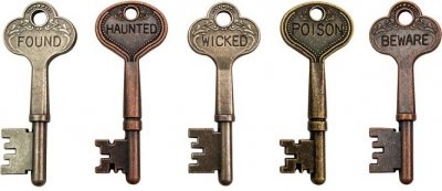 Tim Holtz Idea-Ology Metal Word Keys - Antique Nickel Halloween (5 pack)