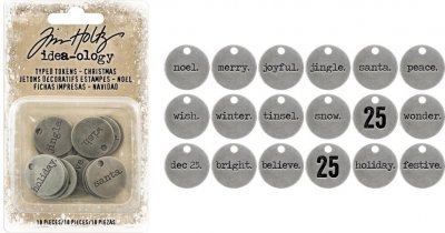 Tim Holtz Idea-Ology Metal Typed Tokens - Christmas Words & Numbers (18 pack)