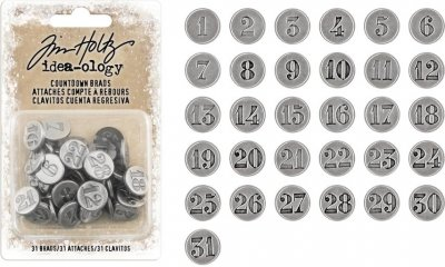 Tim Holtz Idea-Ology Metal Word Bands - Antique Nickel Numbers 1 Through 31 (31 pack)