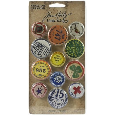 Tim Holtz Idea-Ology Metal Adornments - Vintage Flair (12 pack)