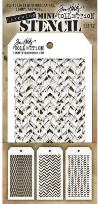 Tim Holtz Mini Layered Stencil Set #12 (3 pack)