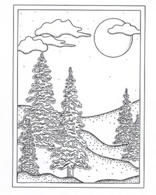 Creative Expressions Umounted Stamp Plate - Winter Trees Background Stamp