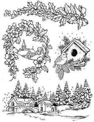 Stamperia Cling Mounted Natural Rubber Stamps - Christmas
