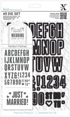 Xcut A5 Die Set - Wedding Alphabet & Numbers (48 dies)