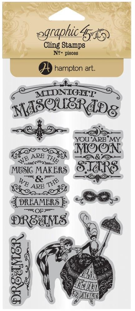 Graphic 45 Cling Stamp Set Midnight Masquerade 1